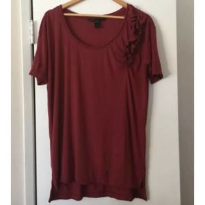 Marc Jacobs Ruffle Front Burgundy Top